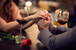 Romance at restaurant for Valentine's Day-concept
