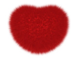 Furry love heart isolated on white. Fur symbolic heart as an explicit object for any amorous themes decoration.
