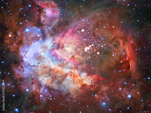 Colorful space nebula with stars. Elements of this image furnished by NASA - 134222154