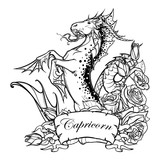 Zodiac sign Capricorn. Fantastic sea creature with body of a goat and a fish tail Decorative frame of roses. Vintage art nouveau style concept art for horoscope, tattoo or colouring book. EPS10 vector
