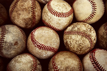 Old Vintage Baseball Background. Shallow focus