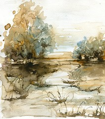 watercolor landscape © bruniewska