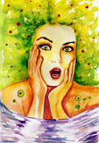 Watercolor portrait of a woman. spring,