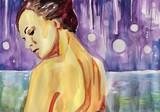 watercolor portrait , woman