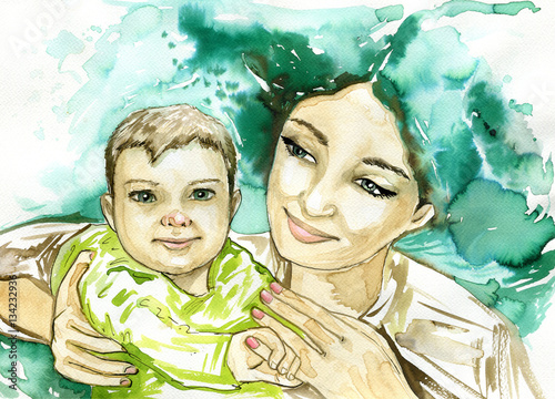 Foto op Canvas Schilderkunstige Inspiratie woman and children , watercolor picture