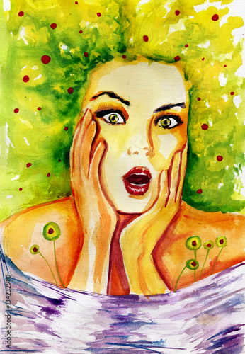 Foto op Canvas Schilderkunstige Inspiratie Watercolor portrait of a woman. spring,