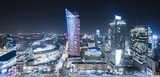modern city center of Warsaw, skyscrapers