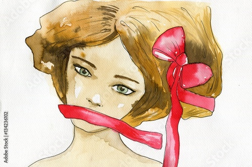 Foto op Canvas Schilderkunstige Inspiratie Watercolor portrait of a woman.