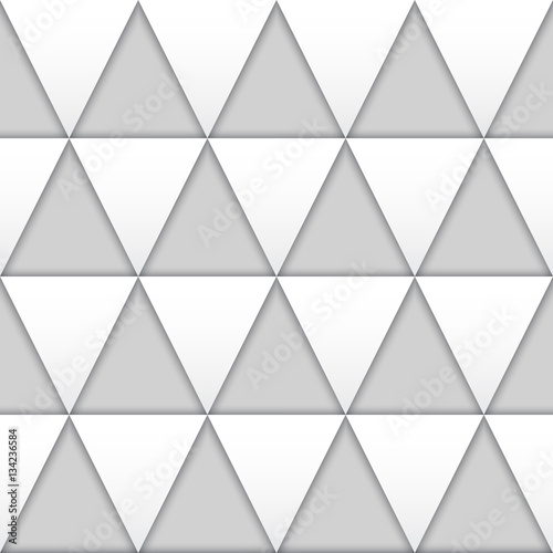 Seamless white 3D triangles vector texture. - 134236584