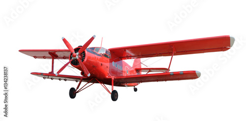 Red airplane biplane with piston engine