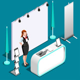 Exhibition booth stand desk woman roll up display panel. 3D Isometric People icon set. Creative design vector illustration collection