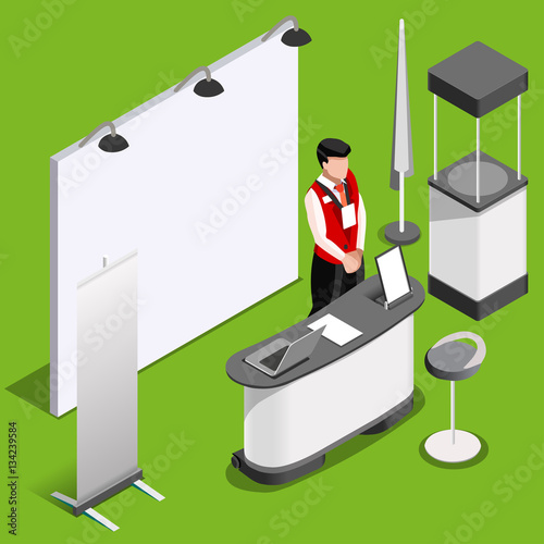 Exhibition Stall Icon : Exhibition booth stand man desk roll up display panel d