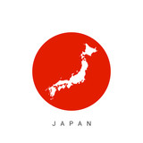 Vector Japan map on Japan flag background - 134241967