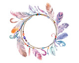 Watercolor colorful feathers frame. Hand drawn boho wreath for wedding - 134242977