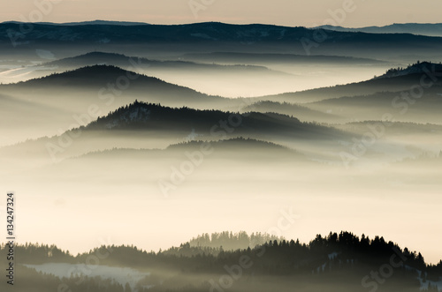 Obraz Misty mountains landscape in the morning, Poland