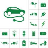 electric car icon, alternative energy set on white background