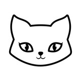 face cat fluffy lovely animal outline vector illustration eps 10