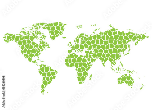 Abstract vector map of the world from the green grid - 134260508