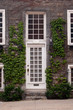 White front door and sash windows.  Green vines climbing up stone wall.  Stone front steps and sidewalk in front of quaint town house in Old Montreal, Montreal, Canada.