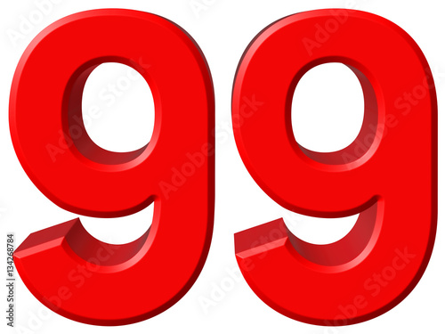 Numeral 99, ninety nine, isolated on white background, 3d render Poster