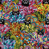 Seamless floral vector pattern with black cats