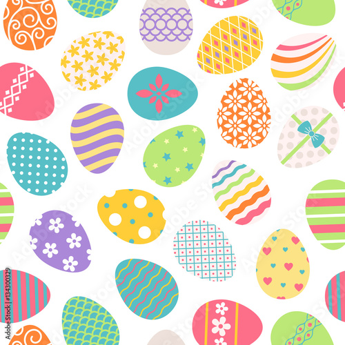 Cotton fabric Easter eggs seamless pattern. Vector colored ostern background with floral patterns