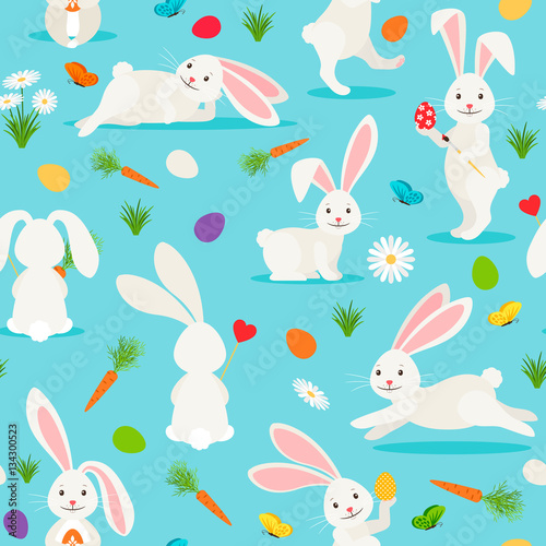 Materiał do szycia Cute white rabbit seamless pattern. Bunny Easter vector background
