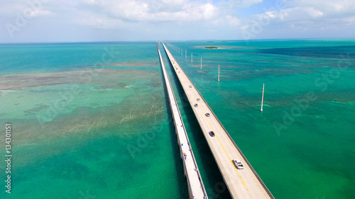 Sticker Bridge over Florida Keys, aerial view