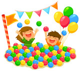 Fototapety two kids playing in a ball pit with a festive atmosphere