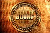 books, 3D rendering, grunge metal stamp
