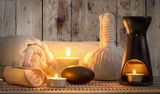 burning candles in spa wellness