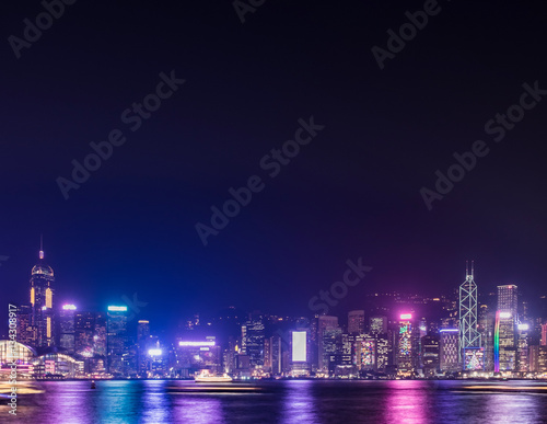 Hong Kong skyline view from kowloon side,colorful night life,cit Poster