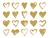 Valentine day gold glitter doodle hearts. Hand drawn hearts brushes for wedding and valentine cards. - 134310985