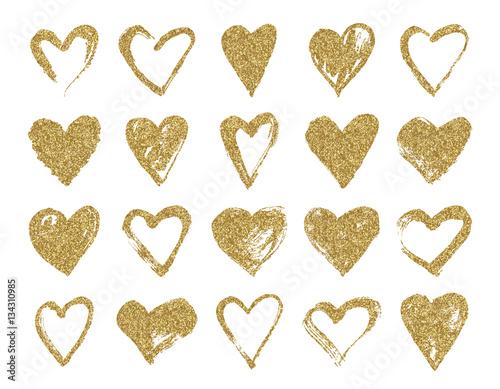 walentynki-zlote-brokat-doodle-serca-recznie-rysowane-serca-szczotki-do-slubu-i-karty-walentynkowe