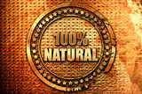 100%% natural, 3D rendering, grunge metal stamp