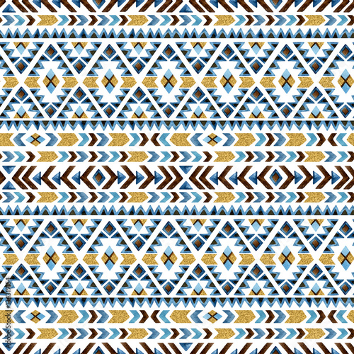 Watercolor ethnic seamless pattern. Geometric ornament. - 134319154