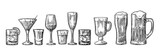 Set glass beer, whiskey, wine, tequila, cognac, champagne, cocktails, grog. - 134320111
