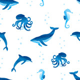 Seamless pattern with watercolor sea animals. Vector underwater background in blue.