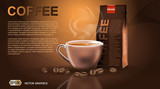 Realistic hot coffee cup and package Mockup template for branding, advertise product designs. Fresh steaming drink in a mug with roasted beans