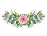 Fototapety Watercolor vector wreath with green eucalyptus leaves and branches.