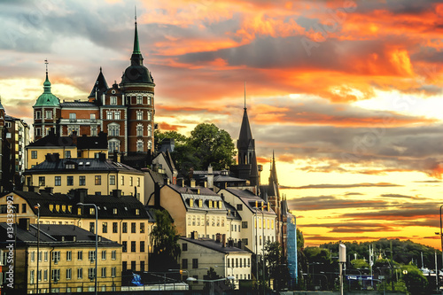 Poster Stockholm cityscape during sunset.