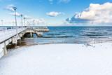 Winter Baltic sea scenery. Pier in Gdansk Brzezno, Poland