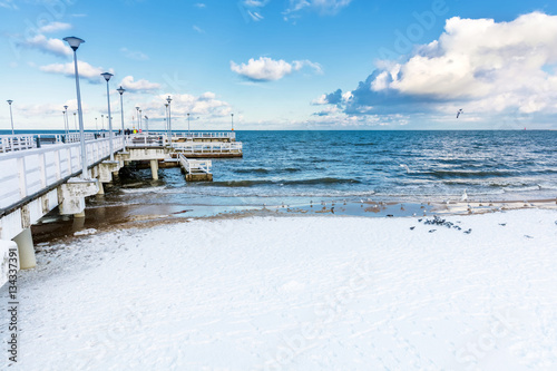 Winter Baltic sea scenery. Pier in Gdansk Brzezno, Poland