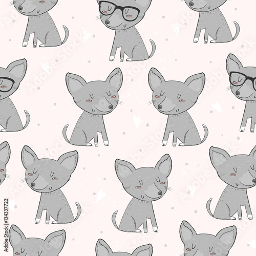 Cute dog seamless pattern on a pink background - 134337722