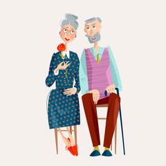 Elderly couple in love. Happy Grandparents day. Happy family concept.