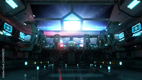 space ship futuristic interior. Cabine view. Galactic travel concept. 3d rendering. - 134346751