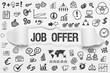 Job Offer / weißes Papier mit Symbole