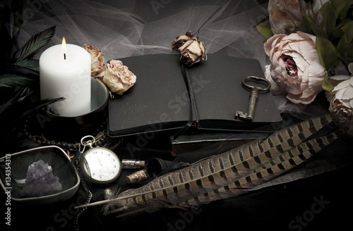 Plakát Vintage table with paper, flowers, old watch and candle