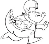 Black and white illustration of a dinosaur playing football.