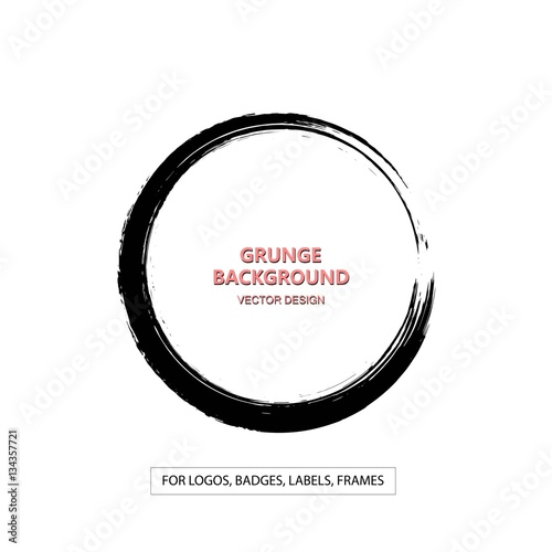 Hand drawn grunge circle shape. Label, logo design element, frame ...